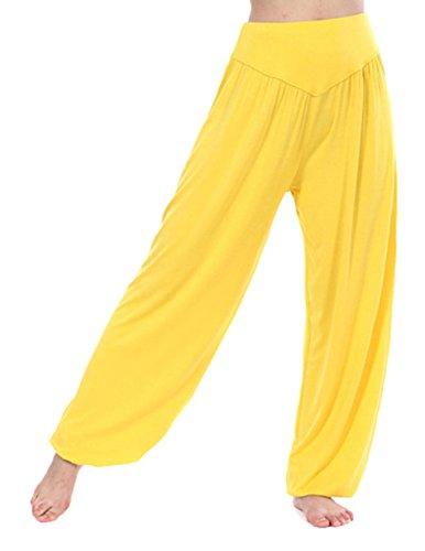 HOEREV Super Soft Modal Spandex Harem Yoga/ Pilates Pants,Yellow,Small