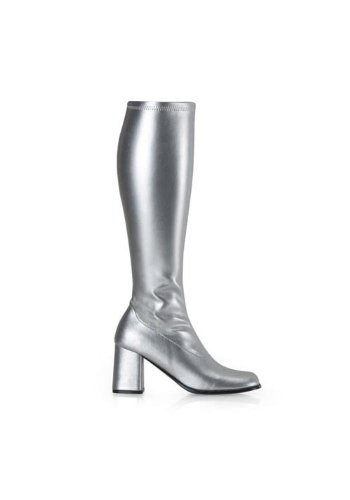 Silver Costumes Boots (Funtasma by Pleaser Women's Gogo-300 Boot,Silver Stretch,12 M)