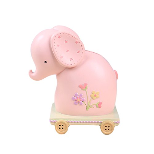 Pink Flower Bank (WAIT FLY Cute Pink Elephant Shaped with Flower Pattern and Button Pulley Resin Piggy Bank Coin Bank Box Money Bank Originality Lovely Marry Christmas Birthday Gifts for children Home Desk Decoration)