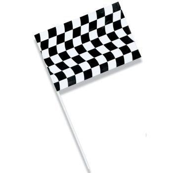 "Creative Converting 48 Count Plastic Small Flag, 6.25 x 9.5"", Black/White"