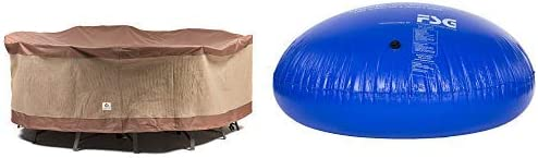"""Duck Covers Ultimate Round Patio Table with Chairs Cover, 108-Inch with Duck Dome Airbag, 54""""D x 24""""H"""