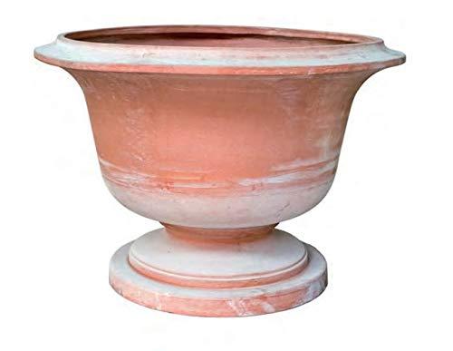 Alzata con piede coppa vaso da giardino in terracotta; diametro cm