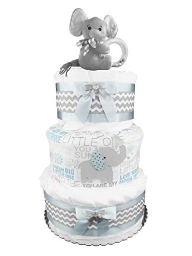 (Elephant 3-Tier Diaper Cake - 50 Size 1 Diapers - Baby Shower Gift - Newborn Boy - Blue and)