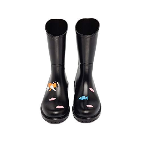 à résistantes chaussures bottes 37 dérapantes et pluie couleur 1 paire imperméables noires à taille et anti l'eau de la rose R8w7XnxB