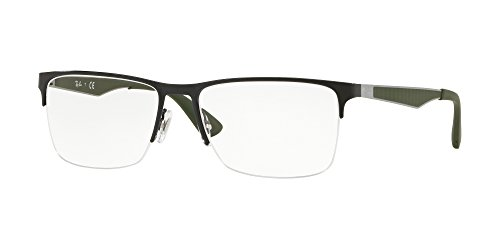 Ray-Ban RX6335 Rectangular Metal Eyeglass Frames, Black/Demo Lens, 56 mm (Ray Ban Frames Weiblich)