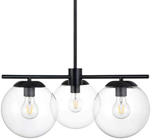 Caserti Mid Century Modern 3 Light Hanging Ceiling Chandelier Light Fixture Black with Clear Glass Globes Pendant Lighting LL-C607-5BLK