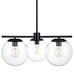 Caserti Mid Century Modern 3 Light Hanging Ceiling Chandelier Light Fixture | Black with Clear Glass Globes Pendant Lighting LL-C607-5BLK