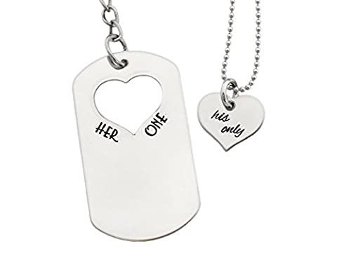 Couples Gifts - His And Hers Gift Set - Dog Tag Key Chain And Heart Necklace (His Hers Dog Tags)
