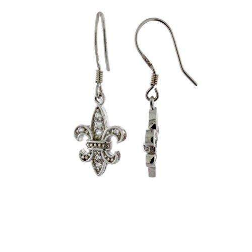 Sterling Silver Cubic Zirconia Fleur De Lis Dangling Earrings ()