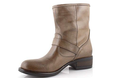 Pelle Stivaletti Invernali Scarpe Tacco Made Neri Biker Stivali Italydamin0152 Boots Marroni Taupe Donna In U1wqZw84x