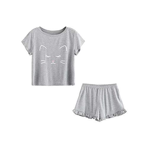Trendy Women Pajama Suits Women's Casual Cat Shorts Short Sleeve Ruffled T-Shirt Sleepwear(Gray,XL) -