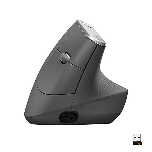 Logitech MX Vertical Wireless Mouse – Advanced Ergonomic Design Reduces Muscle Strain, Control and Move Content Between…