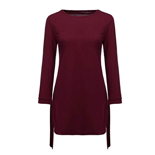 HYIRI Solid Bow Elegant Straigth Dress,Women's O-Neck Spring Loose Mini Dresses Wine