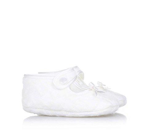 BABY VIP - Ballerine de berceau blanche en tissu, extrêmement confortable et flexible, elle garantit la complète liberté du petit pied, bébé fille
