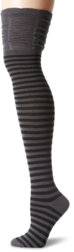 Knee Socks Charcoal - K. Bell Women's Fashion Over The Knee Socks, Charcoal/Black, 9-11