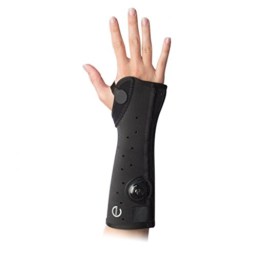 EXOS 312-52-1111 Short Arm Fracture Brace, Open Thumb, Right, Medium, Black