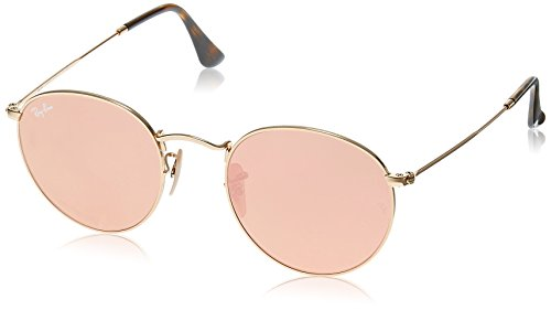 Ray-Ban ROUND METAL - SHINY GOLD Frame COPPER FLASH Lenses 47mm - Bans Ray Flash Lenses