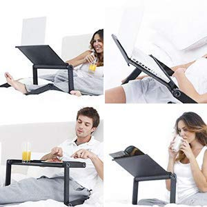 Laptop Table Stand,Portable Laptop Stand for Desk & Bed - Adjustable Riser Lap Tray Stand-Up Computer Lapdesks with Mouse Pad Side Compatible MacBook,Notebook & Tablets for Size up to 17'' (48cm) by YOJULY (Image #7)