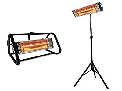 1500 Watt Outdoor Infrared Heater with Roll Cage or Tripod Combo