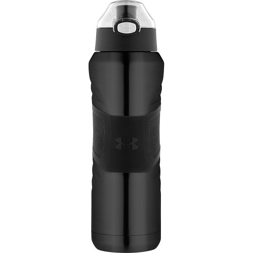 Stainless Steel Push Top Lid - Under Armour Dominate 24 Ounce Vacuum Insulated Bottle, Gloss Black