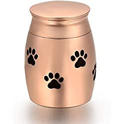 Paw Print Pet Funeral Urn Dog/Cat Stainless Steel Cremation Urns Memorial Keepsake Bottle (Rose gold, L)