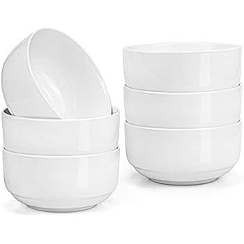 Lawei 6 pack 12 oz Porcelain Bowl Set for Cereal, Rice, Salad, Dessert, Soup - White