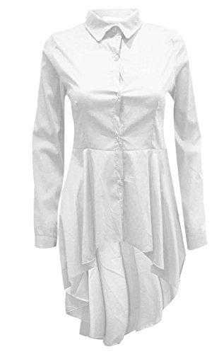 Con Hi Delle Manica Pulsante Camicia Colletto Di Superiore Signore Lo Vestito Donne Chiffon Bianca Lunga wxRRaqfP1