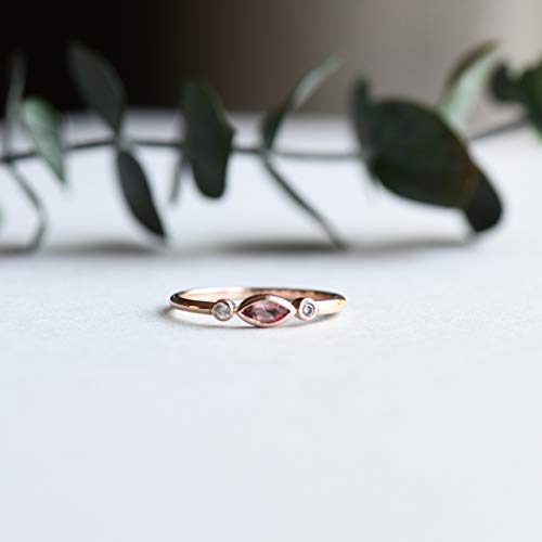 14k Rose Gold Marquise Ring, Tourmaline Ring, Pink Ring, Dainty Ring, Minimalist Ring, Anniversary Gift, Engagement Ring, Stacking - Marquise Ring Tourmaline