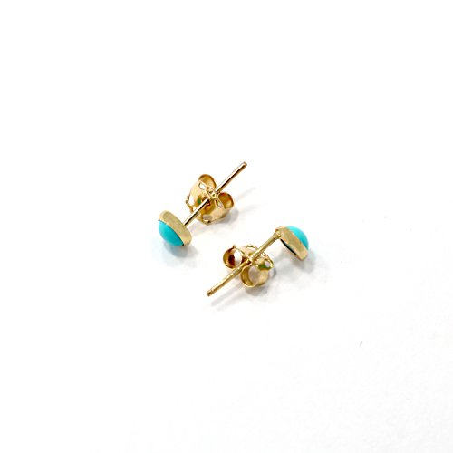 Natural Turquoise Stud Earrings 14k Solid Yellow Gold 14k Yellow Gold Turquoise Ring