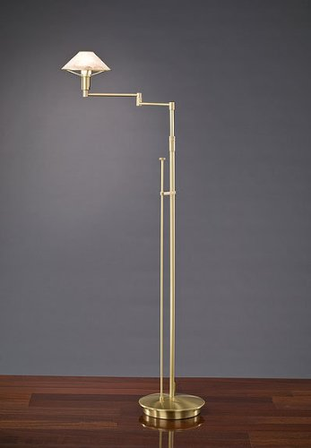 Brass Halogen Antique Arm Swing (Holtkoetter 9434 BB ABR Lighting for The Aging Eye Halogen Swing-Arm Floor Lamp, Brushed Brass with Alabaster Brown Glass, 9.25