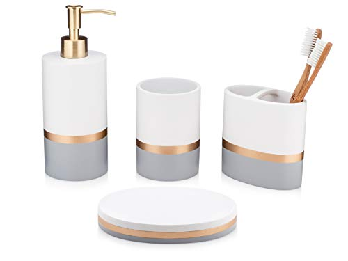 - Essentra Home Day and Night Collection 4-Piece Bathroom Accessory Set White and Grey with Gold Stripe, Set Includes: Lotion Dispenser, Toothbrush Holder, Tumbler and Soap Dish