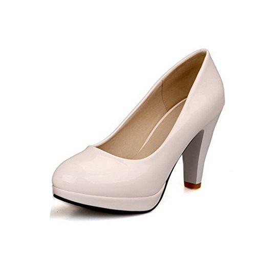 BalaMasa Stivali di gomma con tacco alto solido pompe scarpe, Bianco (White), 38