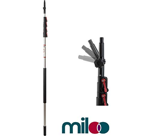 6 to 24 Foot Telescopic Extension Pole by Miloo - Retractable Pole Great for Window Cleaning, Paint Roller Extender, Duster Pole, Hanging Lights, Gutter Cleaning & Light Bulb Changing