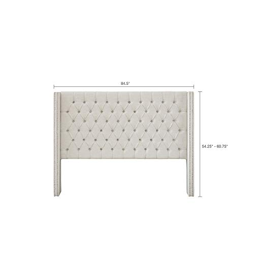Madison Park MP116-0356 Amelia Upholstered Nail Head Trim Wingback Button Tufted Headboard Modern Contemporary Metal Legs Padded Bedroom Décor Accent, King, Cream ()