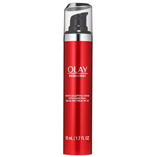 Olay Regenerist Micro-Sculpting Cream Face Moisturizer with Sunscreen SPF 30 Broad Spectrum 1.7 oz, Serum + SPF 30