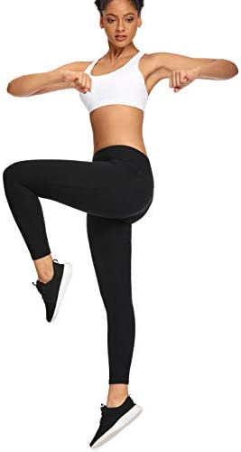 MIKGR Women High Waist Yoga Pants with Pockets Tummy Control Workout Leggings 4 Way Stretch Non See Through 4