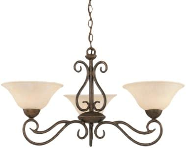 Toltec Lighting 43-BRZ-513 Olde Iron Three-Light Uplight Chandelier Bronze Finish with Amber Marble Glass, 10-Inch