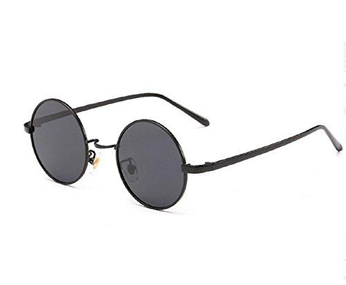 de sol Uv400 Unisex Jhon Nero L Gafas Polarizzati M Lennon Hombres Redondas Nero nwOxgXB