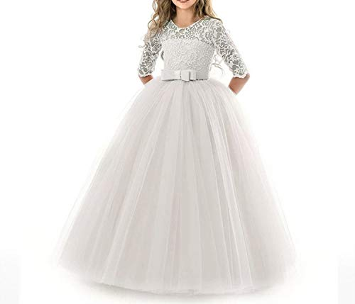 Dresses for Girls Children Formal Girl Party Evening Dress Wedding Princess Dress,White,11 ()