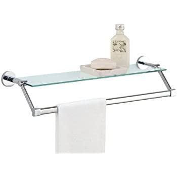 Amazon.com: Organize It All Bathroom Glass Shelf with Chrome Towel ...