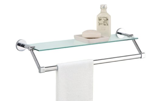 (Organize It All Bathroom Glass Shelf with Chrome Towel Bar)