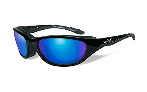 Wiley X Airrage Sunglasses, Polarized Blue Mirror, Gloss Black by Wiley X