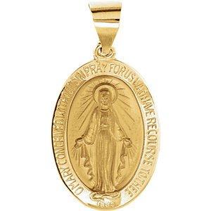 14K jaune 19x 13.5mm creux ovale Médaille Miraculeuse
