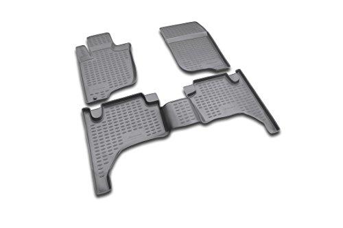 Novline 35.15.210 Mitsubishi L200 Double Cabin Pickup Truck Floor Mats - Floor Liners - 2004-2014 - Four (4) Piece Set - Black