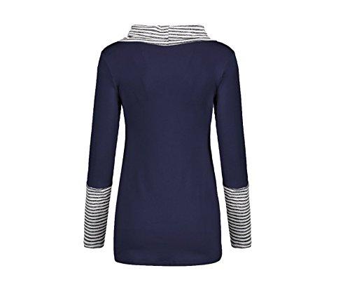 Xing Alto Caída La Mujer Larga De Blue Navy Camiseta Manga Hechizo Moda Color Rayas Cuello Camisa Lin Blusa 0pSxOUwqr0