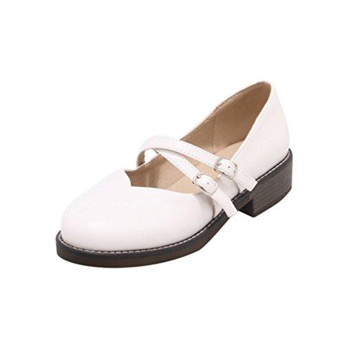 YOUJIA Damen PU Lederschuhe Mary Jane Halbschuhe Mokassin Casual Slip On Flache Schuhe Weiß