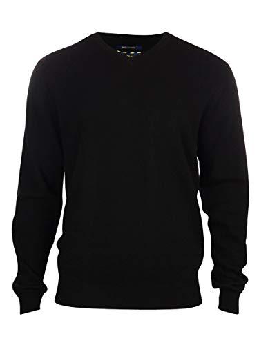 Men's 100% Cashmere Solid V-Neck Sweater (S, Deep Black) ()
