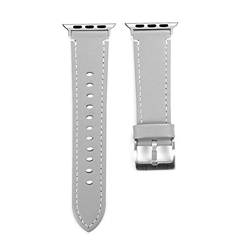 (Compatible Apple Watch Band 44mm, Tuscom Soft Faux Leather iWatch Replacement Band Adjustable Sport Strap Metal Buckle Wristband Bracelet for Apple Watch Series 4 44mm (Gray))