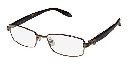Lulu Guinness 710 Mens/Womens Designer Full-rim Gorgeous Vision Care Trendy Eyeglasses/Spectacles (52-17-135, Brownish Gold/Dark Tortoise) (Brille Rx Online)