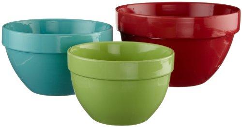 DII Tropical Brights Stoneware Mixing Bowl, Set of 3 (Stoneware Mixing Bowl Set)